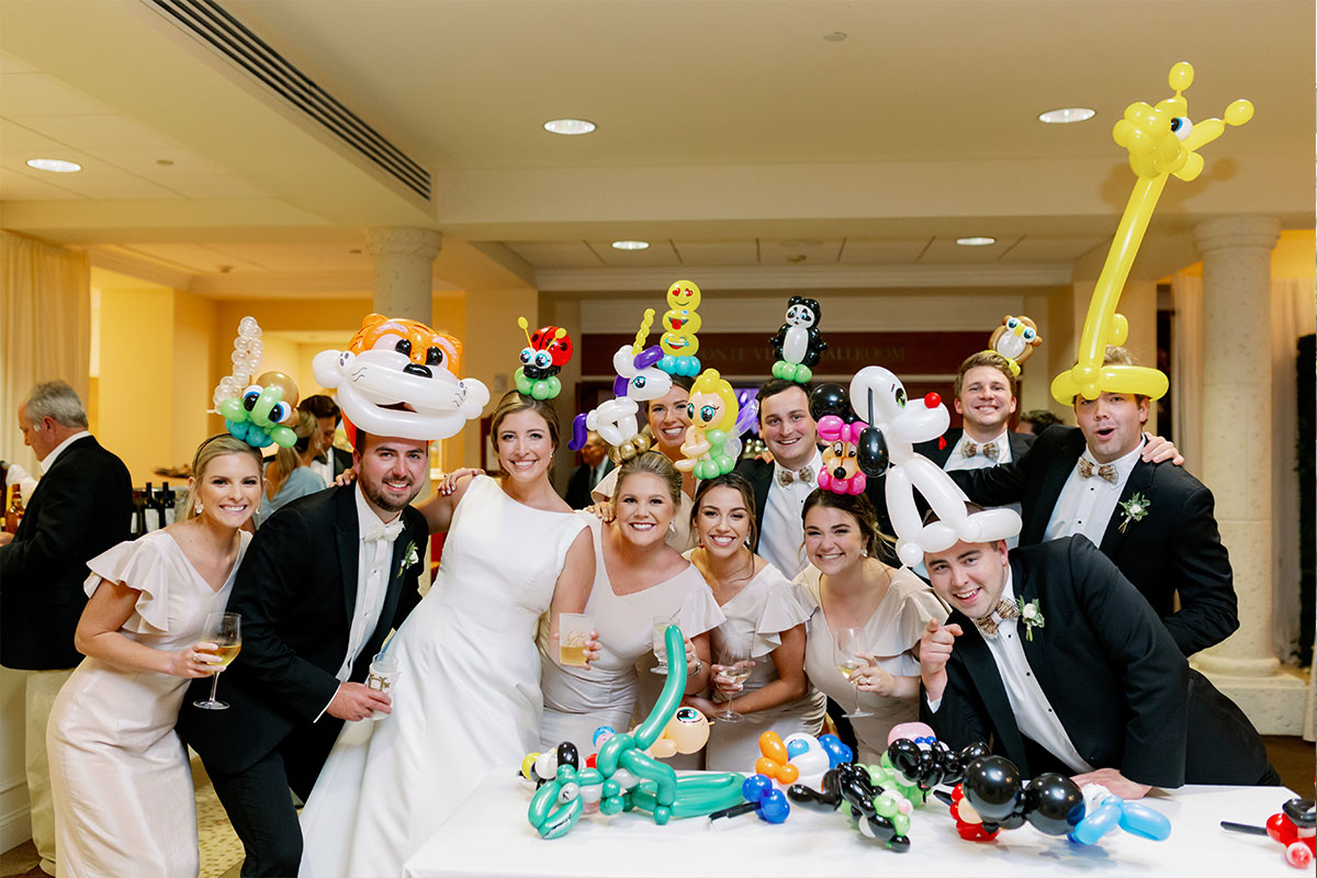 Wedding party with balloon animals